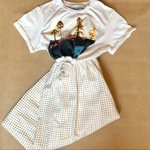 NWT laser cut white leather midi skirt